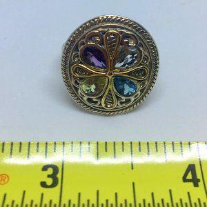 14K - 925 Gemstone Ring Signed M/S 9.2 Grams Sz 7